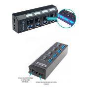 Hub Usb 3.0 com 4 portas taxa de tranferência 480mbps e botões on/off com LEDS indicadores