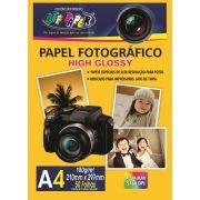 Kit Com 5 Papel Fotográfico High Glossy A4 Com 50 Folhas