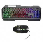 Kit gamer metal mouse e teclado com fio USB LED RGB BK-G800 - Exbom