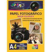 Pacotes Papel Foto Fotográfico High Glossy 180g A4 Alta Qualidade 5760 DPI - (Pacote Contem 50 Unidades)