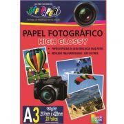 Pacotes Papel Foto Fotográfico High Glossy 180g A3 Alta Qualidade 5760 DPI - (Pacote Contem 20 Unidades)