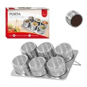 Porta Temperos Magneticos Com 6 Peças E Base Em Inox Cozinha