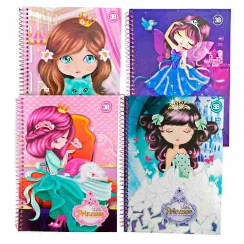 Caderno Little Princesas - 1 Materia, 96 Folha, Capa Dura