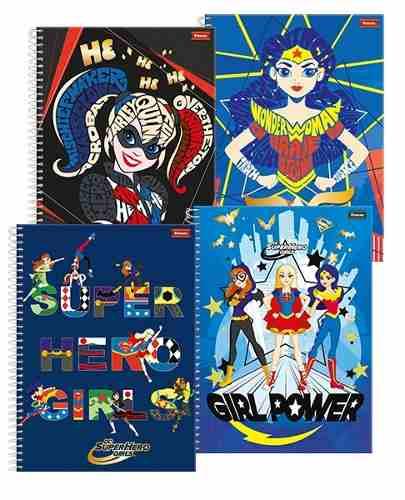 Caderno Universitário 1 Matéria Capa Dura Dc Super Hero Girl