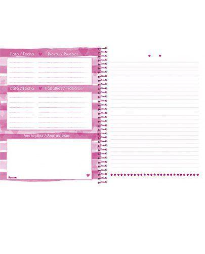 Caderno Universitário Capa Dura Pink Power 10 Materias