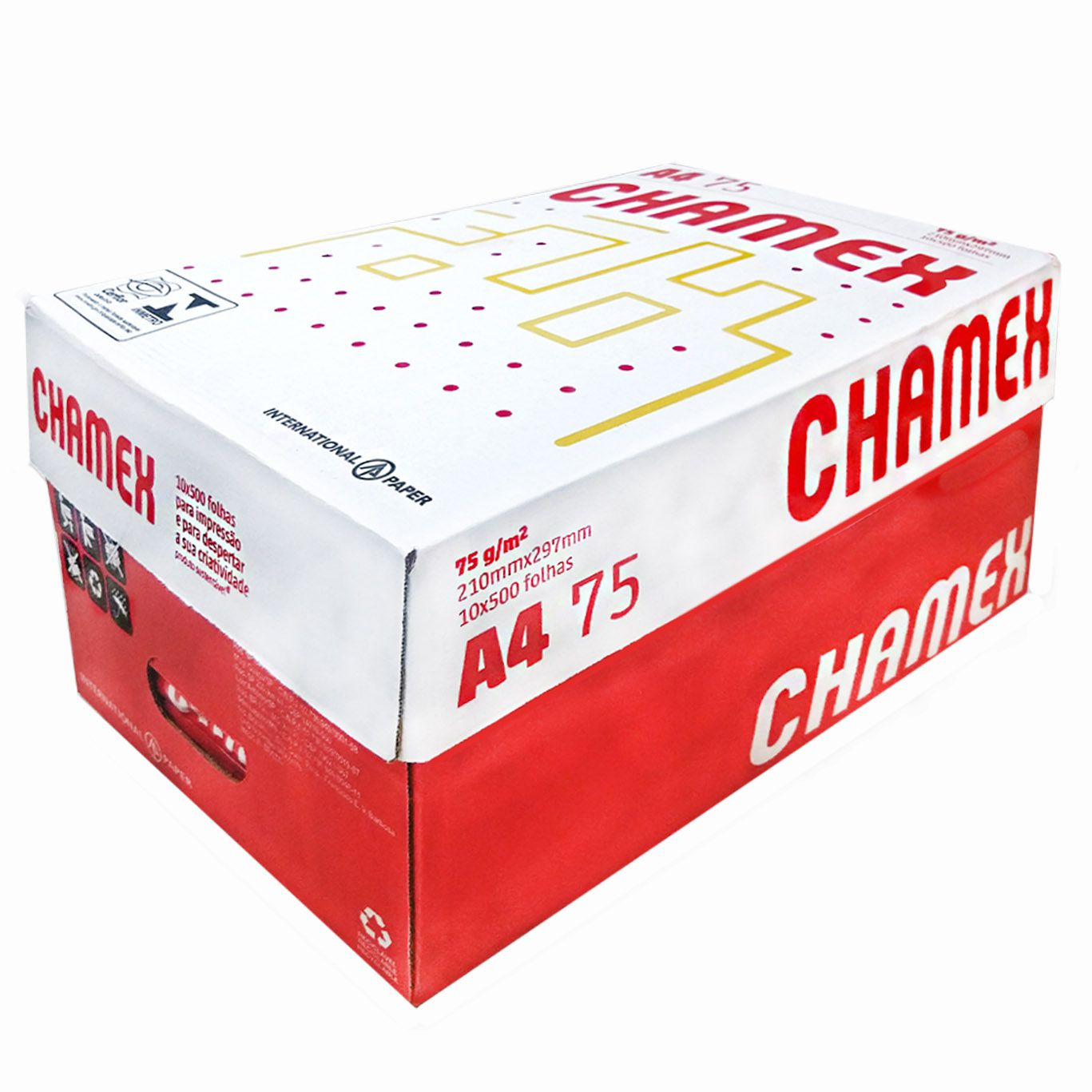 Papel Sulfite Chamex Office 210mm x 297mm 75g A4 - 5000 Folhas (10 resma)