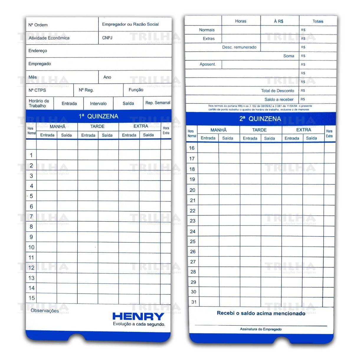 Cartão De Ponto Henry Vega Pacote C/ 100 Und