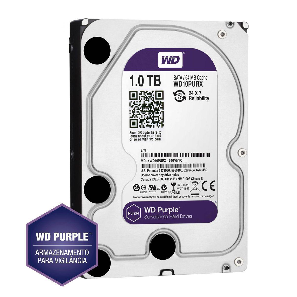 Hd 1tb Purple 1 Tera Western Intelbras Wd Cftv Dvr Wd10purz