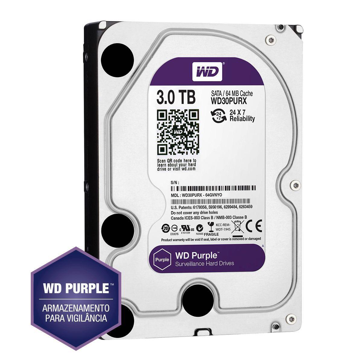 Hd 1tb Purple 3 Tera Western Intelbras Wd Cftv Dvr Wd10purz