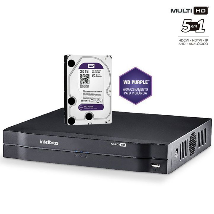 Dvr Stand Alone 16 Canais 1016 Hd + HD Purple 3TB Intelbras Multi