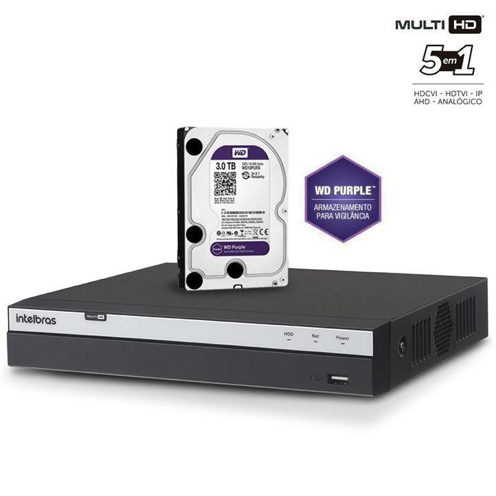 Dvr Stand Alone 8 Canais 3008 Full Hd + HD Purple 3TB 1080p Intelbras Multi