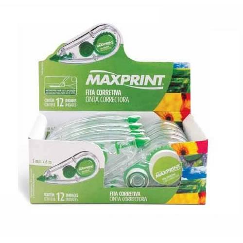 Kit Com 12 Fita Corretiva Maxprint 5,0mm X 6 Metros *