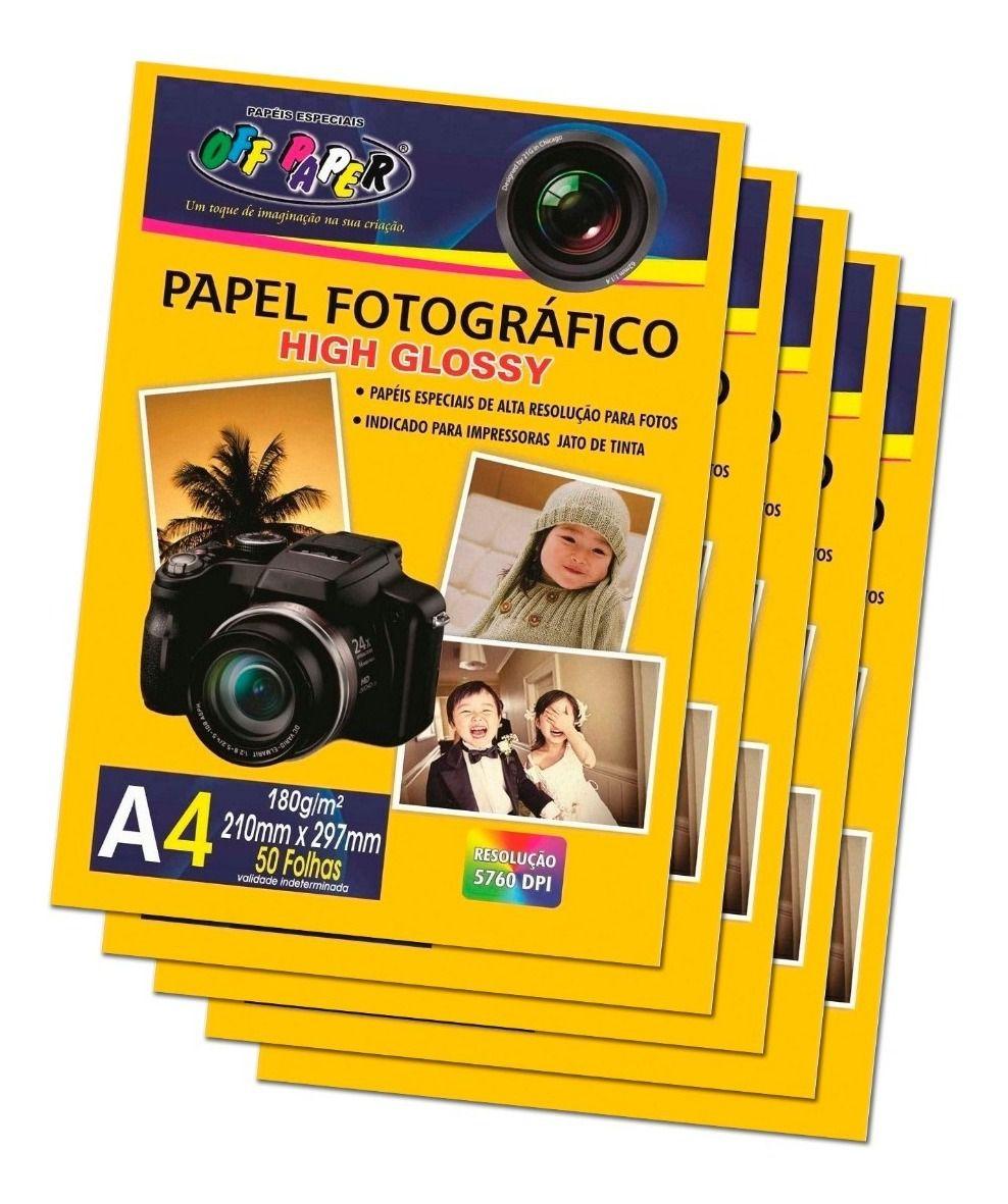 Kit Com 5 Pacotes Papel Foto Fotográfico High Glossy 180g A4 Alta Qualidade 5760 DPI - (Cada Pacote Contem 50 Unidades)