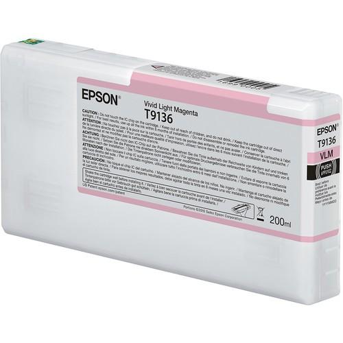 T9136 - Cartucho de Tinta Epson UltraChrome HDX 200ml - Magenta Claro Intenso