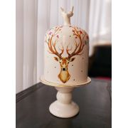 Boleira de Natal Rena Multicolor 18cm x 36cm Cerâmica