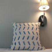 Capa de Almofada Risco Azul Lona 100% Algodão 45x45