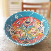 Tigela Turca Azul em Cerâmica Relevo Aidim  16,5cm