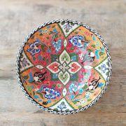 Tigela Turca Laranja em Cerâmica Relevo Izmit 20,5cm