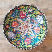 Tigela Turca Verde em Cerâmica Relevo Gebze 20,5cm