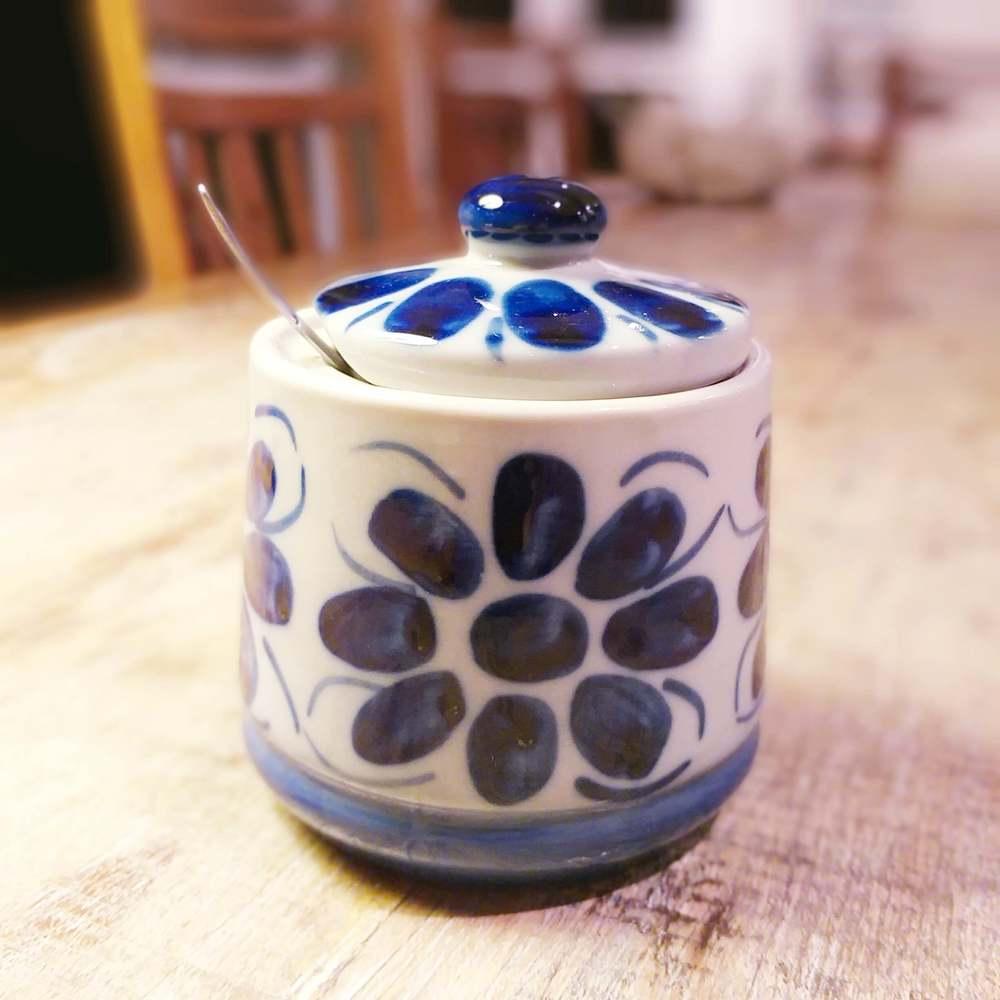 Açucareiro Com Tampa Colonial Azul e Branco Porcelana