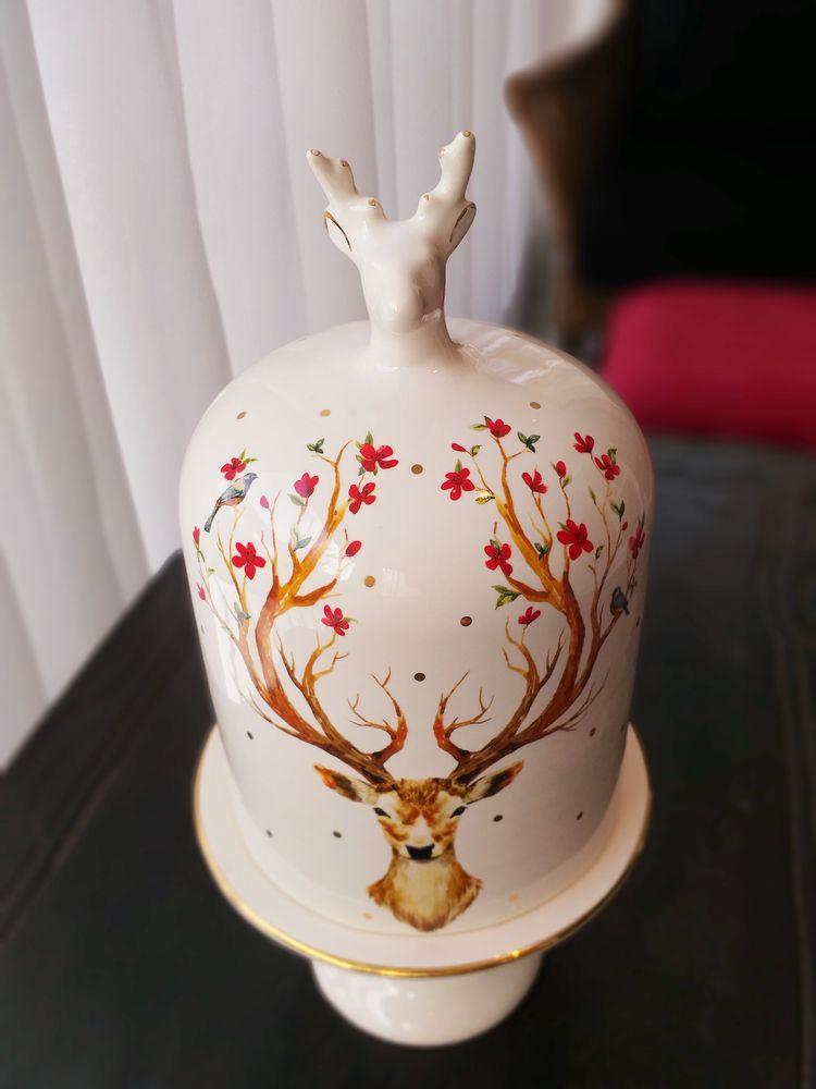 Boleira de Natal Rena Multicolor 18cm x 36cm Cerâmica  - Brandal table & textile