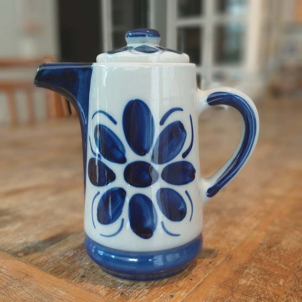 Bule Monte Sião Colonial Azul e Branco Porcelana 600ml