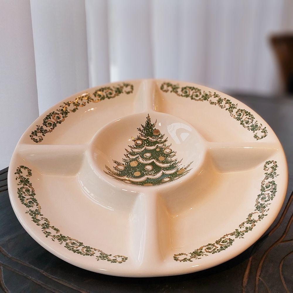 Petisqueira Árvore de Natal Verde 34cm x 4cm Cerâmica