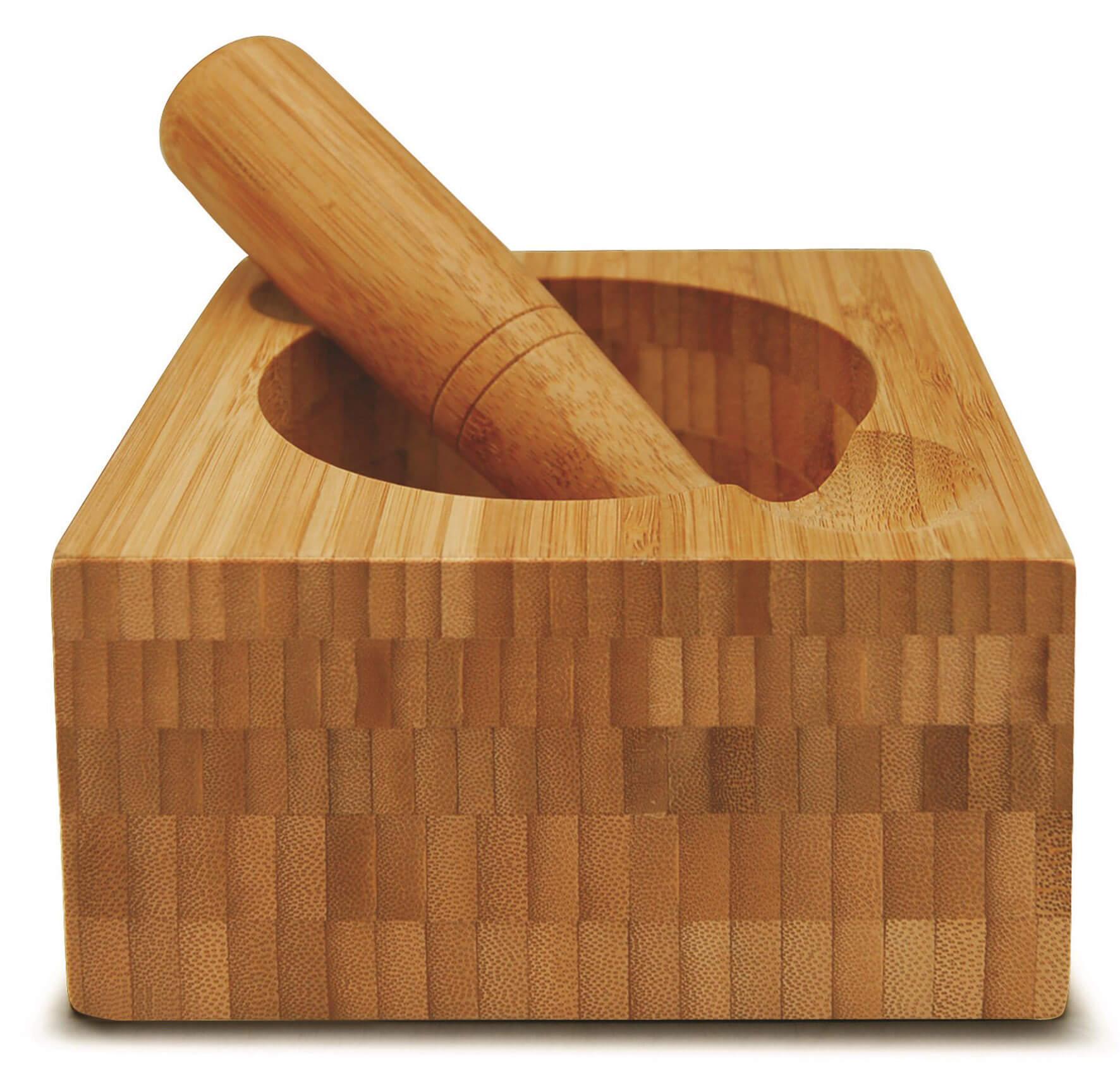 Pilão com Socador de Alho Bambu Mortar Pestle 2 Peças Tyft