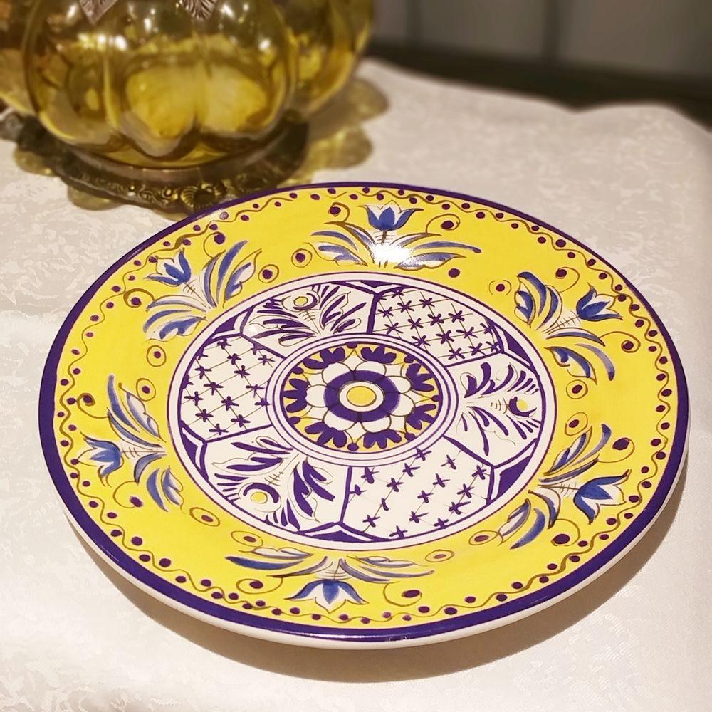 Prato de Sobremesa Luiz Salvador Fiore Amarelo e Azul