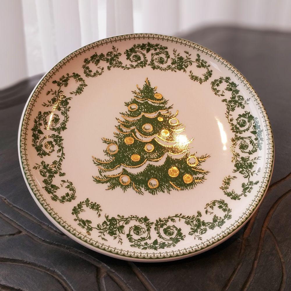 Prato de Sobremesa Luiz Salvador Árvore de Natal Verde   - Brandal table & textile