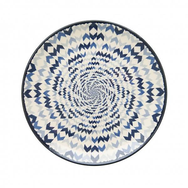 Prato Raso Aquarelle Boho Blue 27cm  - Brandal table & textile