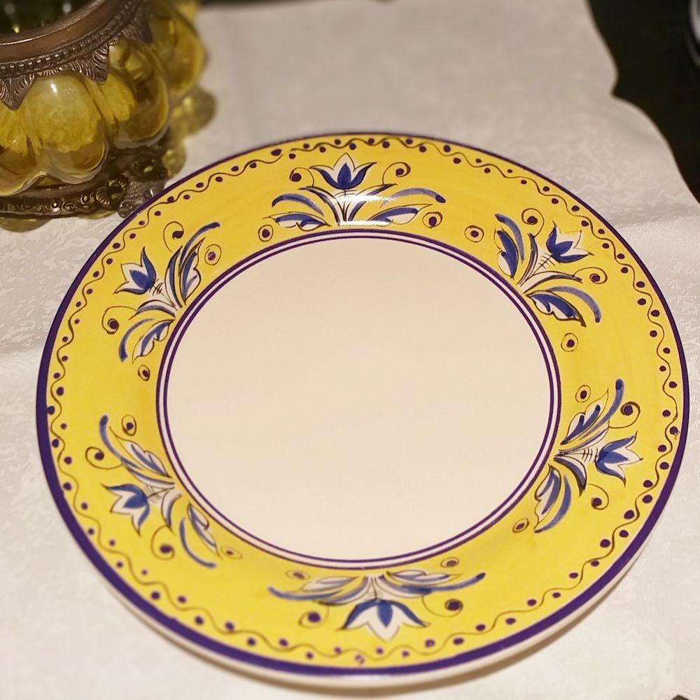 Prato Raso Luiz Salvador Fiore Amarelo e Azul  - Brandal table & textile