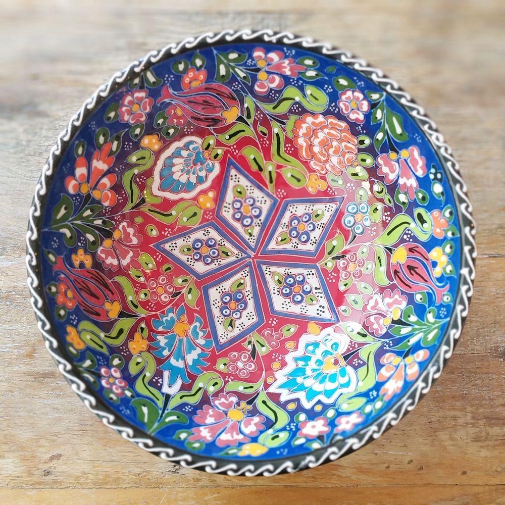Tigela Turca Azul em Cerâmica Relevo Adana 20,5cm