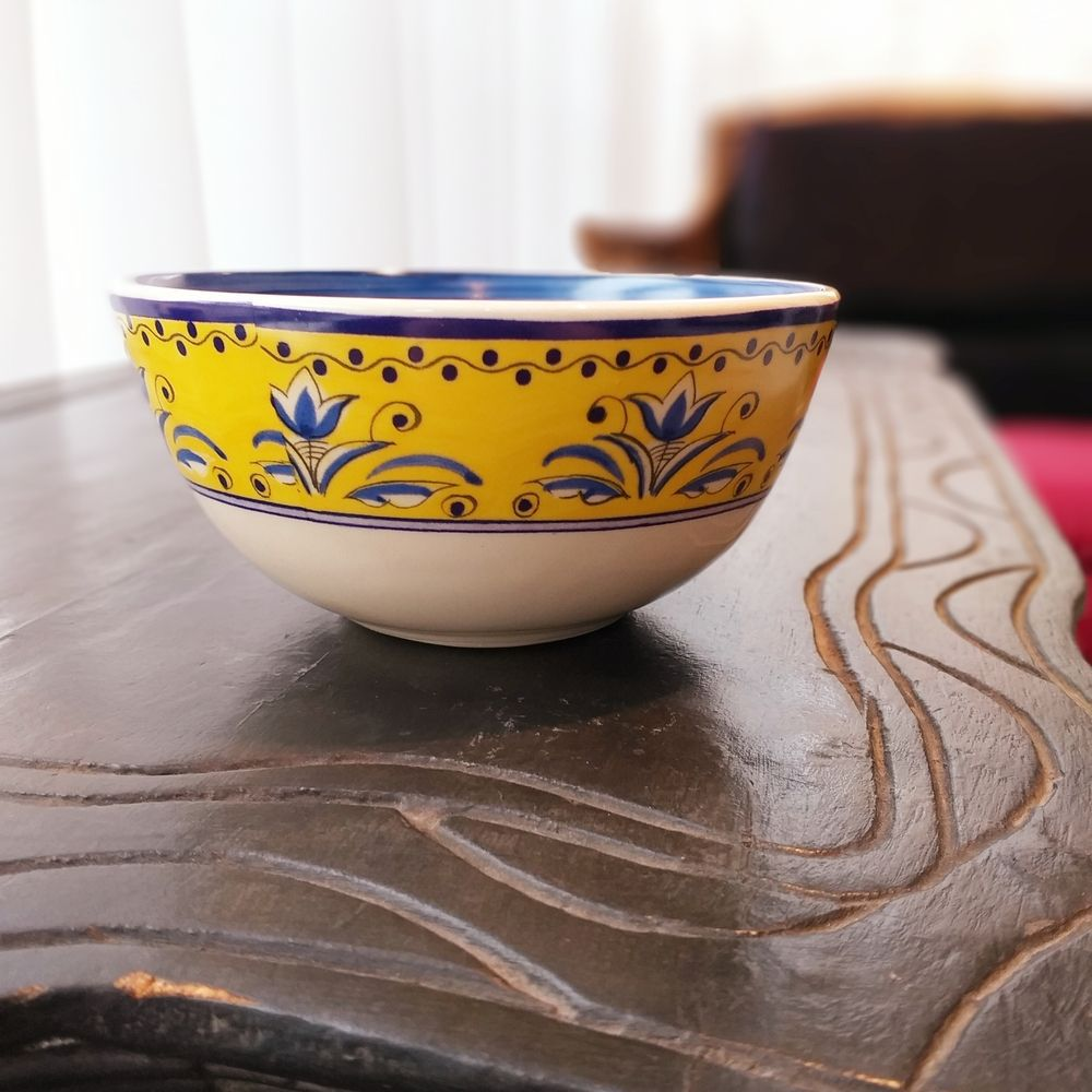 Tigela Luiz Salvador Fiore Amarelo e Azul 15 cm Cerâmica  - Brandal table & textile