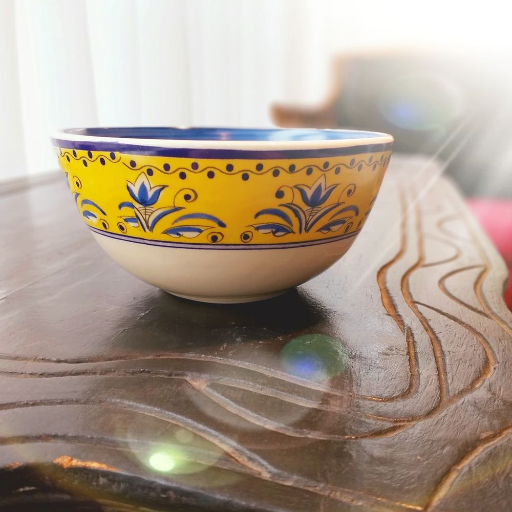 Tigela Luiz Salvador Fiore Amarelo e Azul 15 cm Cerâmica