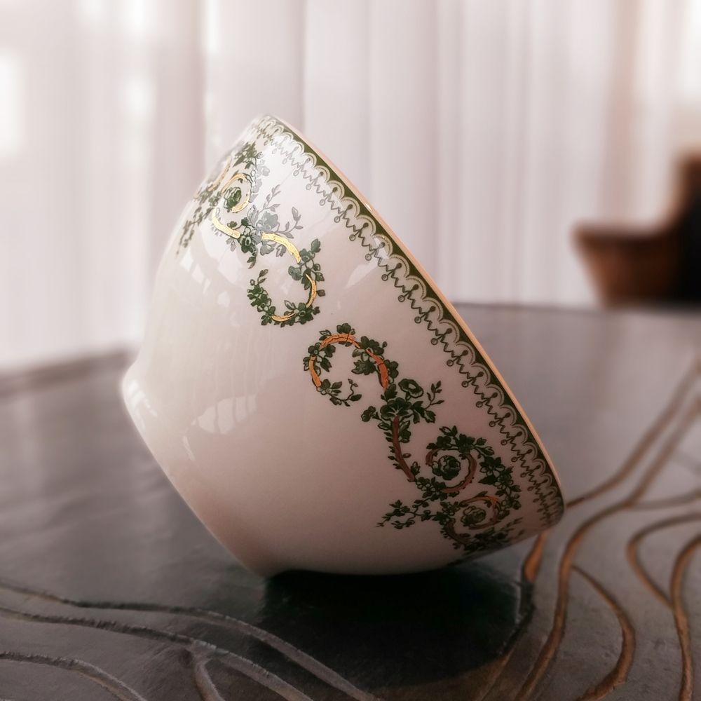 Tigela Luiz Salvador Folhas Verde e Dourado Natal  - Brandal table & textile