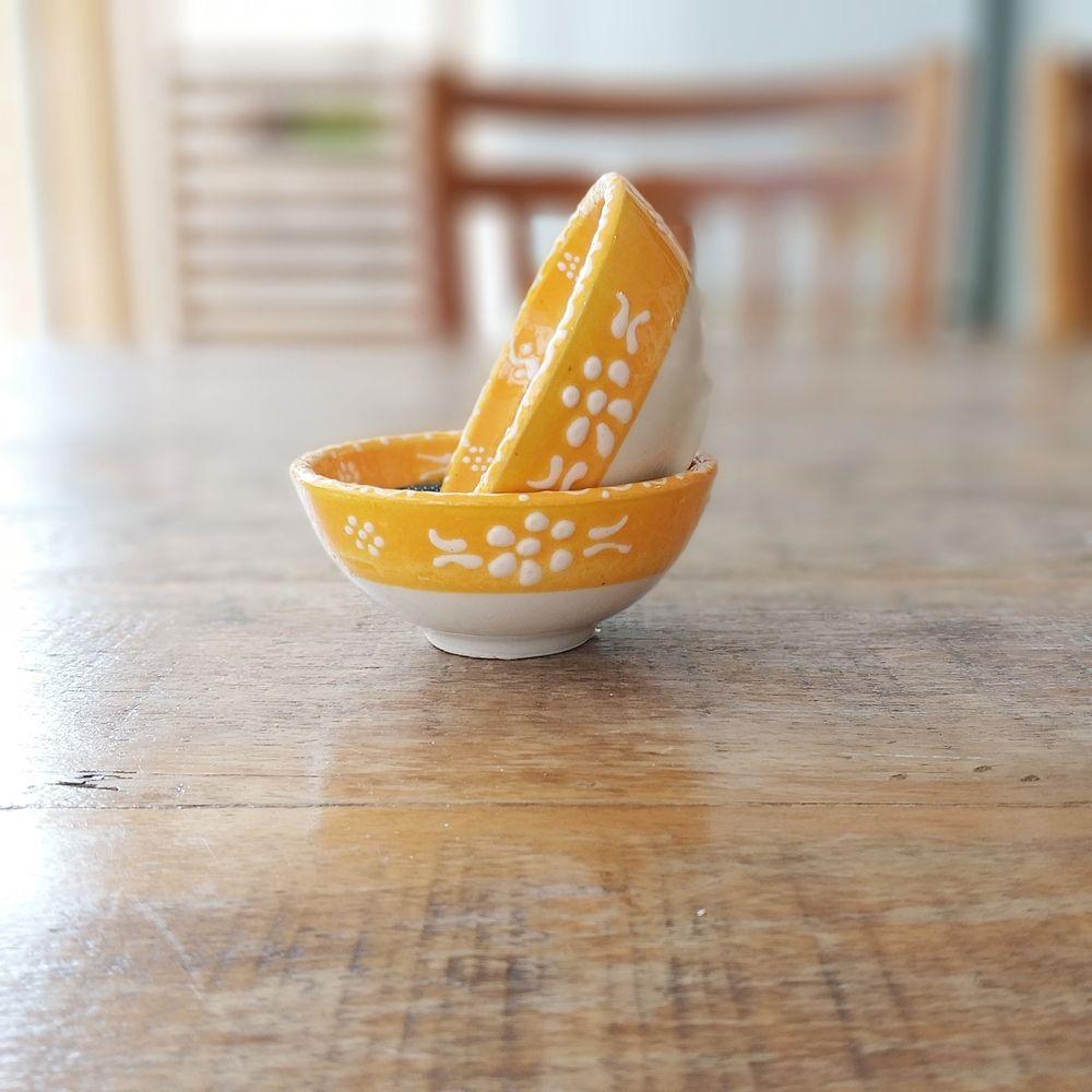 Tigela Turca Amarela em Cerâmica Relevo Duzce o Par 8cm