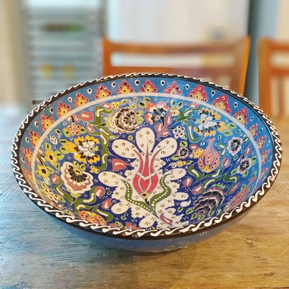 Tigela Turca Azul em Cerâmica Relevo Adapazari 26cm   - Brandal table & textile