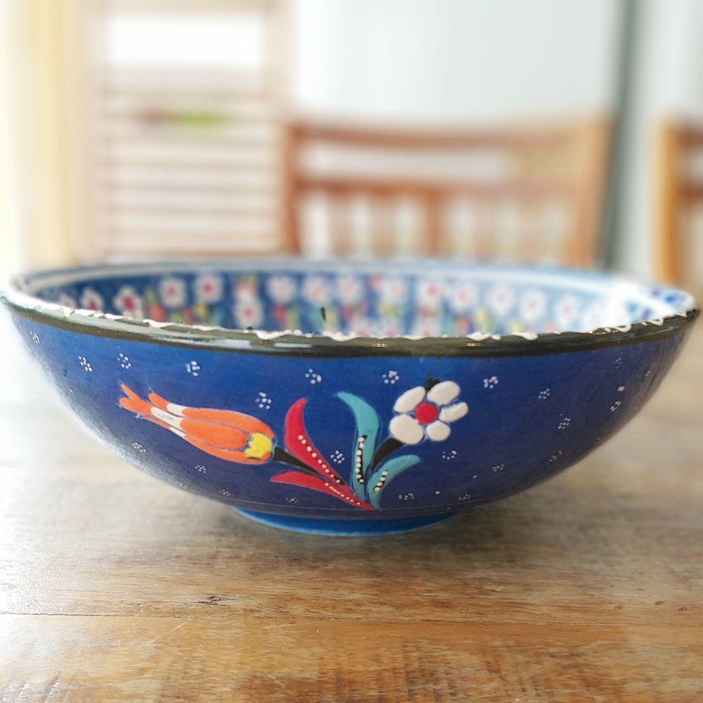 Tigela Turca Azul em Cerâmica Relevo Afyon 25cm