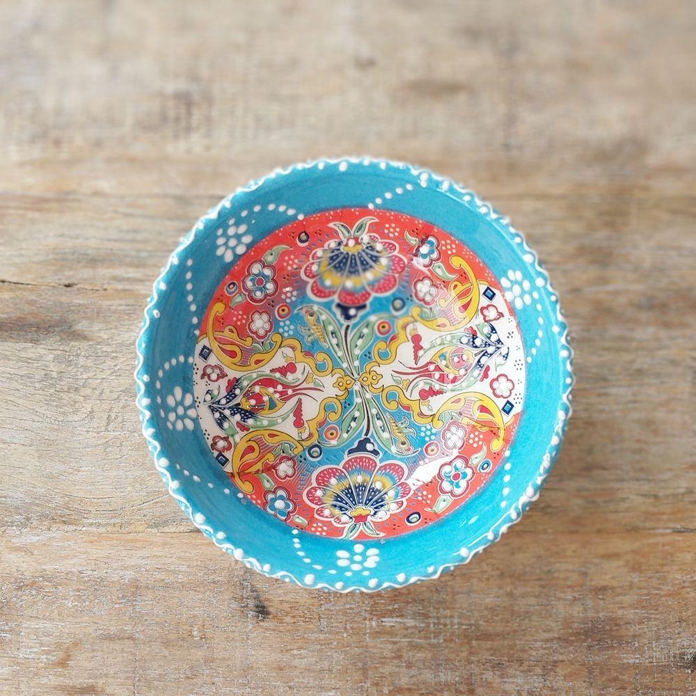 Tigela Turca Azul em Cerâmica Relevo Aidim  16,5cm   - Brandal table & textile
