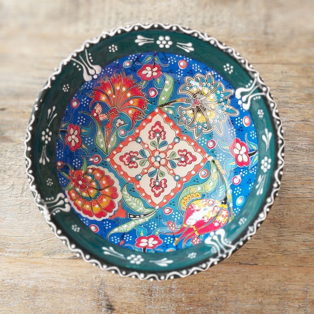 Tigela Turca Azul em Cerâmica Relevo Gazipasa 15,5cm   - Brandal table & textile