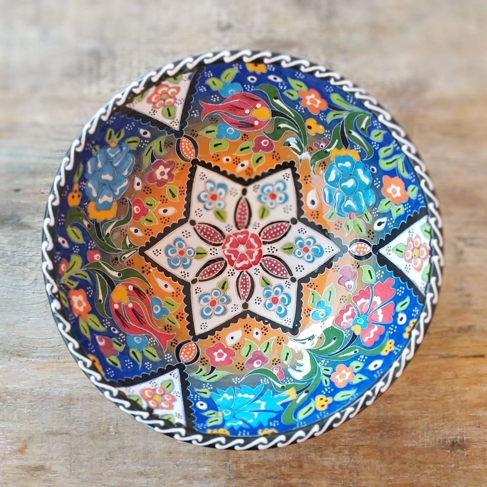 Tigela Turca Azul em Cerâmica Relevo Aksaray 20,5cm