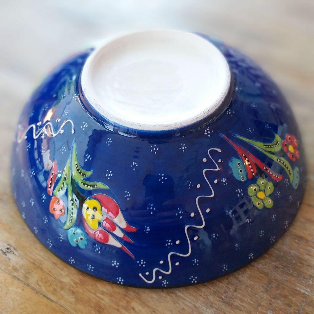 Tigela Turca Azul em Cerâmica Relevo Aksehir  20,5cm