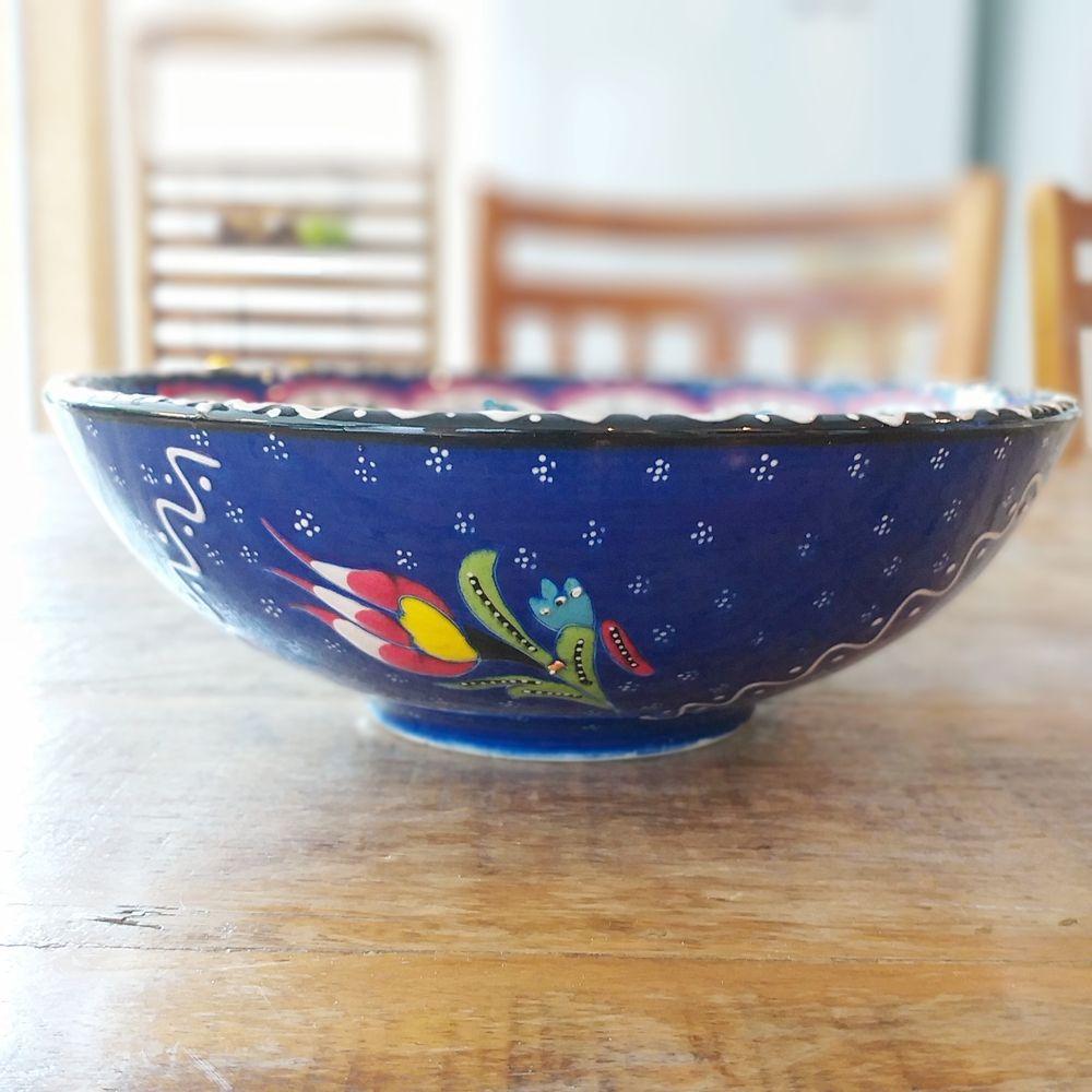 Tigela Turca Azul em Cerâmica Relevo Alasehir 20,5cm