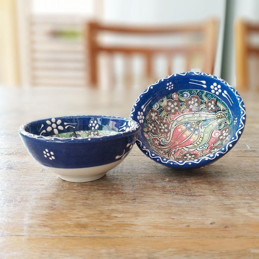 Tigela Turca Azul em Cerâmica Relevo Duzce o Par 8cm