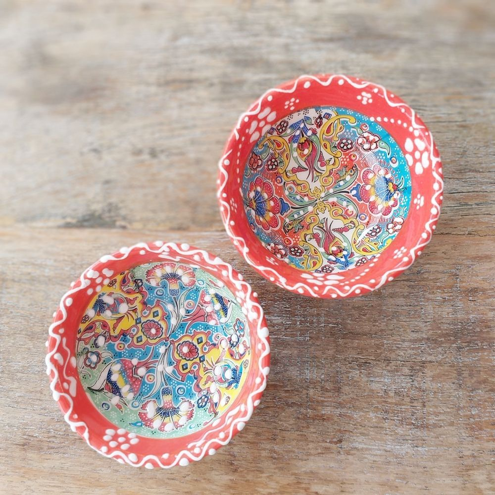 Tigela Turca Laranja em Cerâmica Relevo Duzce o Par 8cm