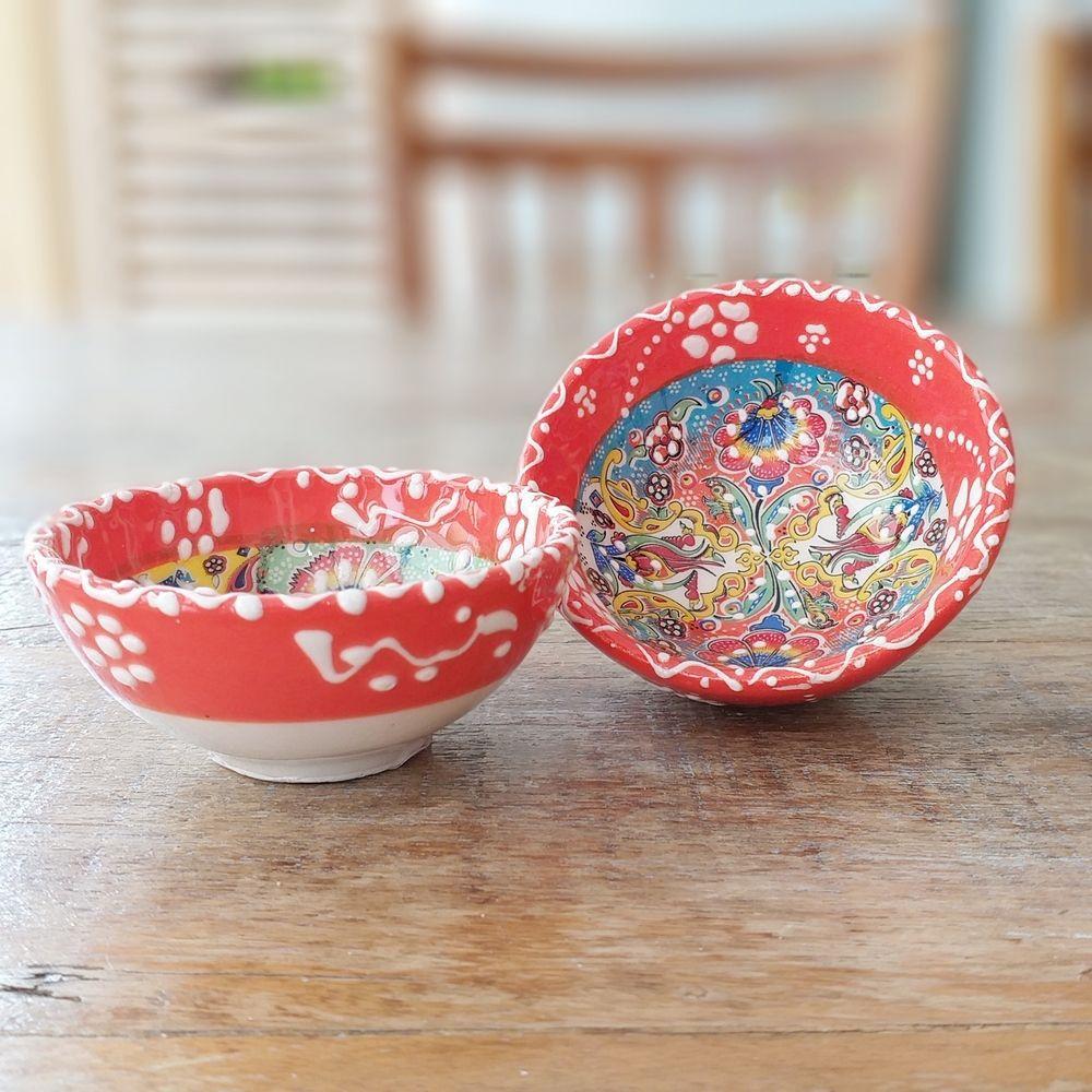 Tigela Turca Laranja em Cerâmica Relevo Duzce o Par 8cm   - Brandal table & textile