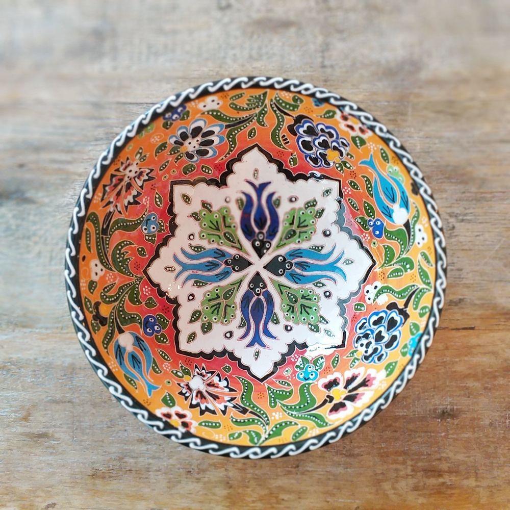 Tigela Turca Laranja em Cerâmica Relevo Istambul 20,5cm