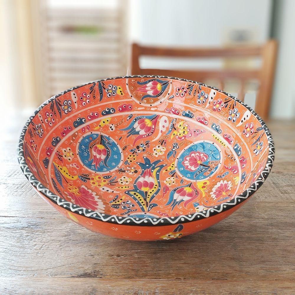 Tigela Turca Laranja em Cerâmica Relevo Izmir 26,5cm