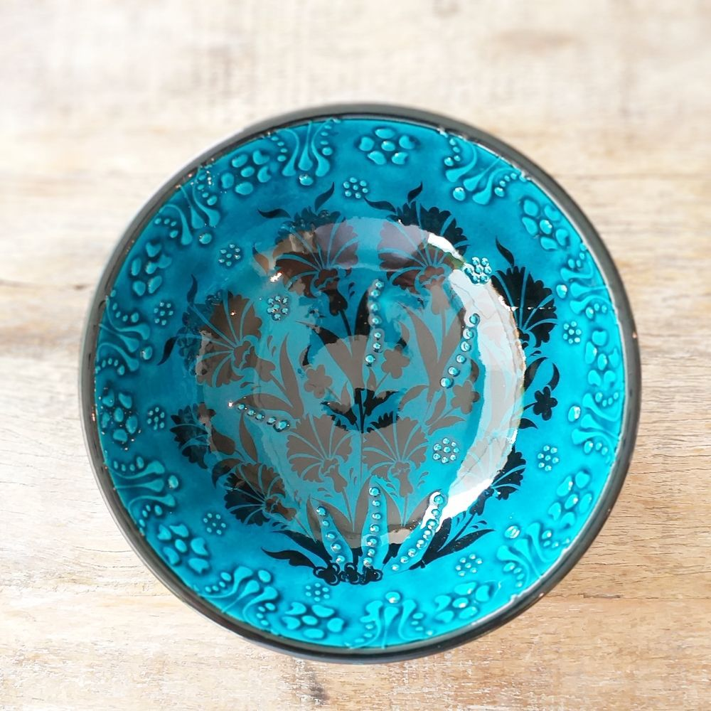 Tigela Turca Turquesa em Cerâmica Relevo Tocate 16cm   - Brandal table & textile